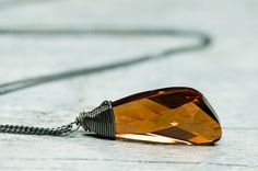 Autumn Honey Brown Swarovski Wire Wrapped Necklace on Picsity