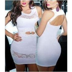 White Lace Insert Sexy Cutout Mini Dress
