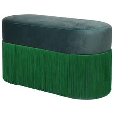 Houtique Upholstery, Velvet Pill Fringes Other Spanish Ottoman / Pouf Green Ottoman, Modern Ottoman, Pouf Ottoman, Green Velvet Fabric, Velvet Upholstery Fabric, Emerald Green, Great Rooms, Antique Furniture, Home Accessories