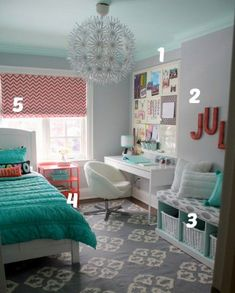 House of Turquoise w/ links for DIY items- love this for a teen girls room,