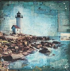 """Afternoon at Annisquam - 24"""" x 24"""" original Gloucester New England lighthouse mixed media painting"""
