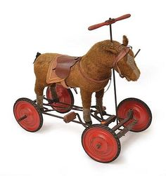 VINTAGE CHILD'S PULL ALONG HORSE TOY ON WHEELS