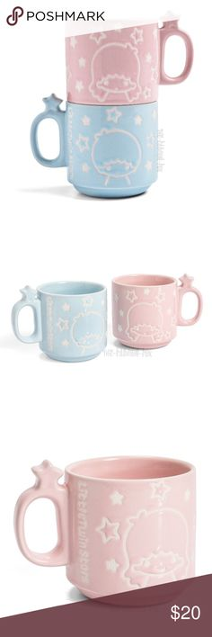 New Sanrio Little Twin Stars Stackable Mugs Set New in Box Loot Crate Exclusive Sanrio Little Twin Stars Ceramic Stackable Mugs 2 Piece Set from the 2017 Sanrio Small Friendship Loot Crate, which is no longer available. The perfect way for you and a friend to share a cup of tea! This set of two ceramic Little Twin Star mugs feature Kiki on the blue cup and Lala on the pink one. The little star in the handle also makes a great hook on which to tie your tea bag string! The mugs stack, making…