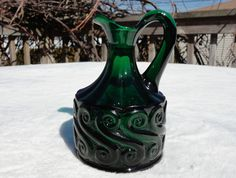 FENTON FOR LG WRIGHT EMERALD GREEN GLASS CRUET ~ S REPEAT PATTERN ~ ART GLASS