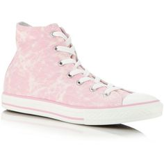 Converse pink All Star hi-top trainers found on Polyvore