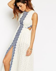 ASOS Petite | ASOS PETITE Maxi Dress with Festival Embroidery and Cut Out Back