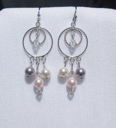Sterling silver chandelier earrings with Swarovski pearl and crystal drops by ParkhillDesigns on Etsy