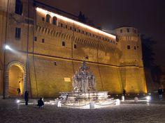 Piazza del Popolo, Cesena. Lighted at night.