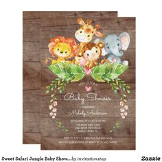 Cute watercolor jungle safari baby shower featuring a adorable giraffe, lion, monkey & elephant with jungle leaves & pink flowers set on a brown wood background. Perfect for a girls baby shower, boys baby shower or gender neutral baby shower. Moose Baby Shower, Baby Shower Niño, Gender Neutral Baby Shower, Baby Showers, Girl Shower, Shower Party, Shower Gifts, Baby Shower Safari, Safari Jungle