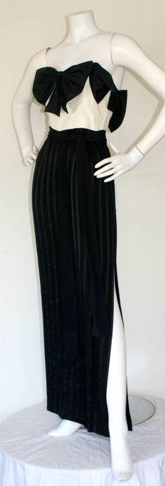 Jean Louis Couture Vintage Silk Bow Gown w/ Sash Belt | From a collection of rare vintage evening dresses at https://www.1stdibs.com/fashion/clothing/evening-dresses/
