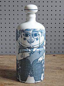 Vintage Altenstadt pottery monocled man bottle
