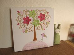 Nursery Art Canvas Kids Room Painting, nursery tree,