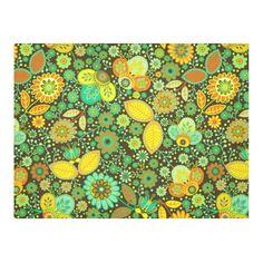 Yellow Orange Green Vintge Floral Pattern Cotton Linen Tablecloth 52