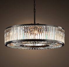 "Welles Clear Crystal Round Chandelier 44"" - Grey Iron"