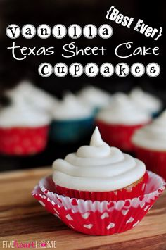 Best Ever Vanilla Texas Sheet Cake Cupcakes with Cream Cheese Frosting on MyRecipeMagic.com