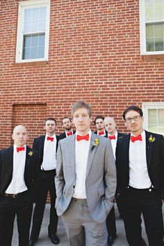 Handmade North Carolina Wedding- Love the red bow ties on the men!