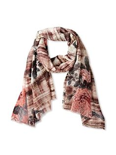 Saachi Women's Floral Scarf, Coral Charcoal