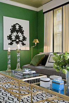 Emerald walls - Tobi Fairley. Also love the crisp white draperies with black banding, very modern.