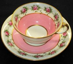 ANTIQUE OLD AYNSLEY PINK ROSE GARLANDS BLACK DOTS GOLD TEA CUP AND SAUCER