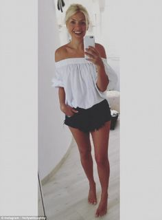 Leggy lady! Holly Willoughby shocked fans with her latest selfie as she shared a snap of her enviably lean legs whilst rocking a pair of denim hotpants on Tuesday