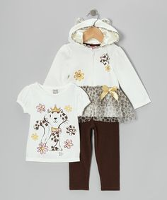 Look at this Young Hearts White Kitty Zip-Up Hoodie Set - Infant & Toddler on #zulily today!