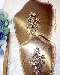 Vintage Matson 3 Piece Vanity Set Hand Mirror Gold Roses
