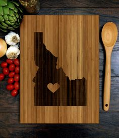 Personalized Wedding Gift, Custom Engraved Wood Cutting Board, Idaho State engraving with heart, Anniversary Gift, Engagement Gift Custom Cutting Boards, Engraved Cutting Board, Custom Wedding Gifts, Personalized Wedding Gifts, Butcher Block Wood, Wood Burning Art, Gifts For Coworkers, Fall Home Decor, Engagement Gifts