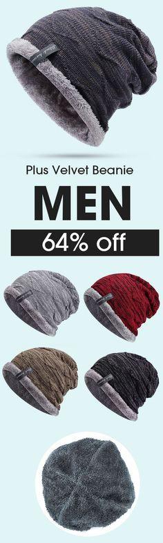 0bb20bca86d7e Mens Plus Velvet Knitted Stripe Beanie Hats Outdoor Winter Warm Skullies