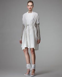Long Leather-Sleeve Coat, White by Rick Owens at Bergdorf Goodman.