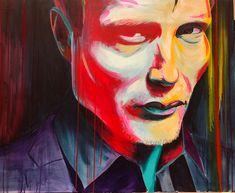 portrætmaleri af Danish actor Mads Mikkelsen spontaneous realism painting - Allan Buch illustration - Karikaturtegner og film - Wild Color Icons - paintings - portræt maleri