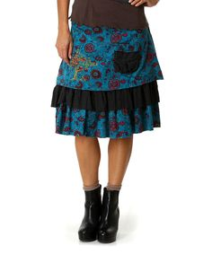 Love this Blue Floral Tree Layered Frill Skirt by Ian Mosh on #zulily! #zulilyfinds