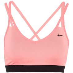 Nike Nike - Pro Indy Stretch-jersey Sports Bra - Blush (15.135 CLP) ❤ liked on Polyvore featuring activewear, sports bras, tops, bras, sports bra, sport, nike, cross back sports bra, red sports bra and yoga activewear