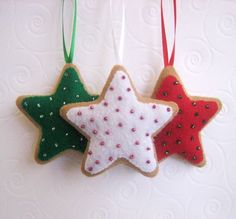 felt ornaments   Three Traditional Star Christmas Cookies Felt Ornaments
