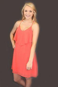 She's Adorable Dress - Coral Red | Hazel & Olive