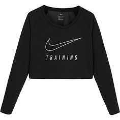 Nike Dri Fit Long Sleeve Versa Crop Top (€59) ❤ liked on Polyvore featuring tops, shirts, black, nike, sweatshirt, cut-out crop tops, shirt crop top, cropped shirts, shirt top and long-sleeve shirt