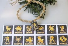 Zodiac Hemp Choker  Astrology  Zodiac Signs  by EclecticCraftVenue