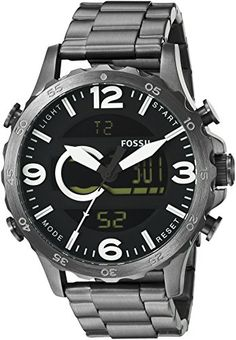 Fossil Nate Men's watch Gray,Gunmetal mm 7 Quartz (Battery) for sale online Fossil Watches For Men, Grey Watch, Casio Watch, Quartz Watch, Chronograph, Display, Digital, Ebay, Accessories