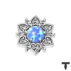 Dermal Anchor silber Herzblume mit Opal blau in Materialstärke 1.2 mm Dermal Anchor, Piercing, Heart Ring, Sapphire, Stars, Rings, Jewelry, Heart, Silver