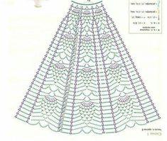Baby Girl Coming Home/Baptism/Christening Outfit Crochet Crochet Skirt Pattern, Crochet Skirts, Crochet Diagram, Crochet Chart, Filet Crochet, Crochet Motif, Crochet Baby, Crochet Patterns, Crochet Summer