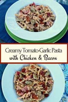 A creamy tomato garlic sauce with pasta, chicken and crispy bacon. Comfort food yet a quick weeknight meal.