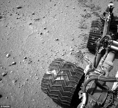Each of the six alumnium wheels is independently operated and is built to withstand the harshness of the Martian environment. The 2014 damage was found on the 'grousers' of the wheel (bottom wheel in this image), which is the zigzag-like pattern that helps them grip the terrain