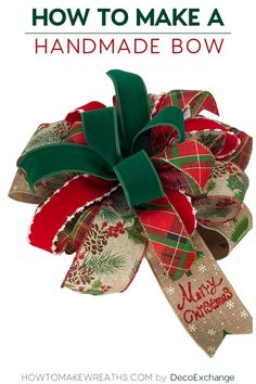 DIY Christmas Bow by Hand This quick tutorial will show you how to make a handmade bow for wreaths. Included is a step by step video on how to make a handmade wreath bow. Making Bows For Wreaths, How To Make Wreaths, How To Make Bows, Wreath Making, Bow Making Tutorials, Making Ideas, Cricut Tutorials, Burlap Bow Tutorial, Homemade Bows