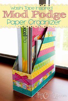 Washi Tape Inspired Mod Podge Paper Organizer For the UK . What is Washi Tape? Mod Podge Crafts, Washi Tape Crafts, Paper Crafts, Diy Crafts, Tapas, Wash Tape, Scotch, Desk Organization Diy, Organizing