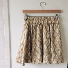 LUSH silk mustard and cream plaid skirt fits size xs/small!  like new!   reminds me of a skirt from cher horowitz closet.  super soft and flattering.   no trades or lowests!  similar to american apparel, forever 21, urban outfitters, lush, clueless Zara Skirts Circle & Skater