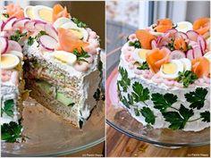 How to DIY Delicious Scandinavian Sandwich Cake Sandwiches, Sandwich Cake, Sandwich Recipes, Cake Recipes, Shrimp Sandwich, Bologna Cake, Pickles, Tortillas Veganas, Gourmet Recipes