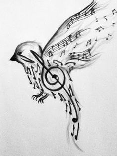 """Two girls did this picture by our middle school choir room, and it looked fantastic :)"" Lovely Songbird Tattoo, Drawing Music Notes, Drawings Of Music, Flute Drawing, Music Notes Art, Drawing Piano, Piano Art, Piano Room, Bird Drawings"