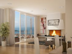White living room with fireplace....