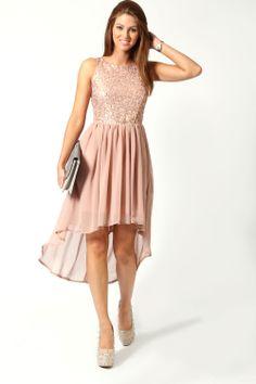 Jess Sequin Top Open Back Chiffon Mixi Dress at boohoo.com