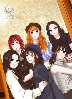 Time for the moon night fan art Friend Anime, G Friend, Bff Pictures, Best Friend Pictures, Best Friend Photography, Kpop Fanart, Couple Art, Kpop Girl Groups, Art Girl