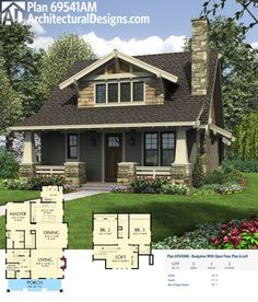 Plan 69541AM: Bungalow With Open Floor Plan & Loft